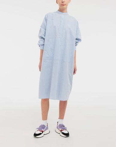 ワンピース・ドレス ロゴプリント ポプリン シャツ ドレス スカイブルー