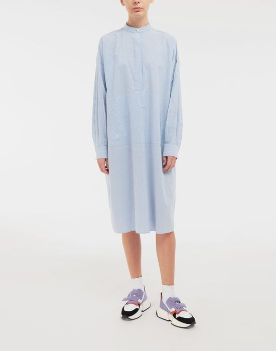 MM6 MAISON MARGIELA Logo-print poplin shirt dress 3/4 length dress [*** pickupInStoreShipping_info ***] r