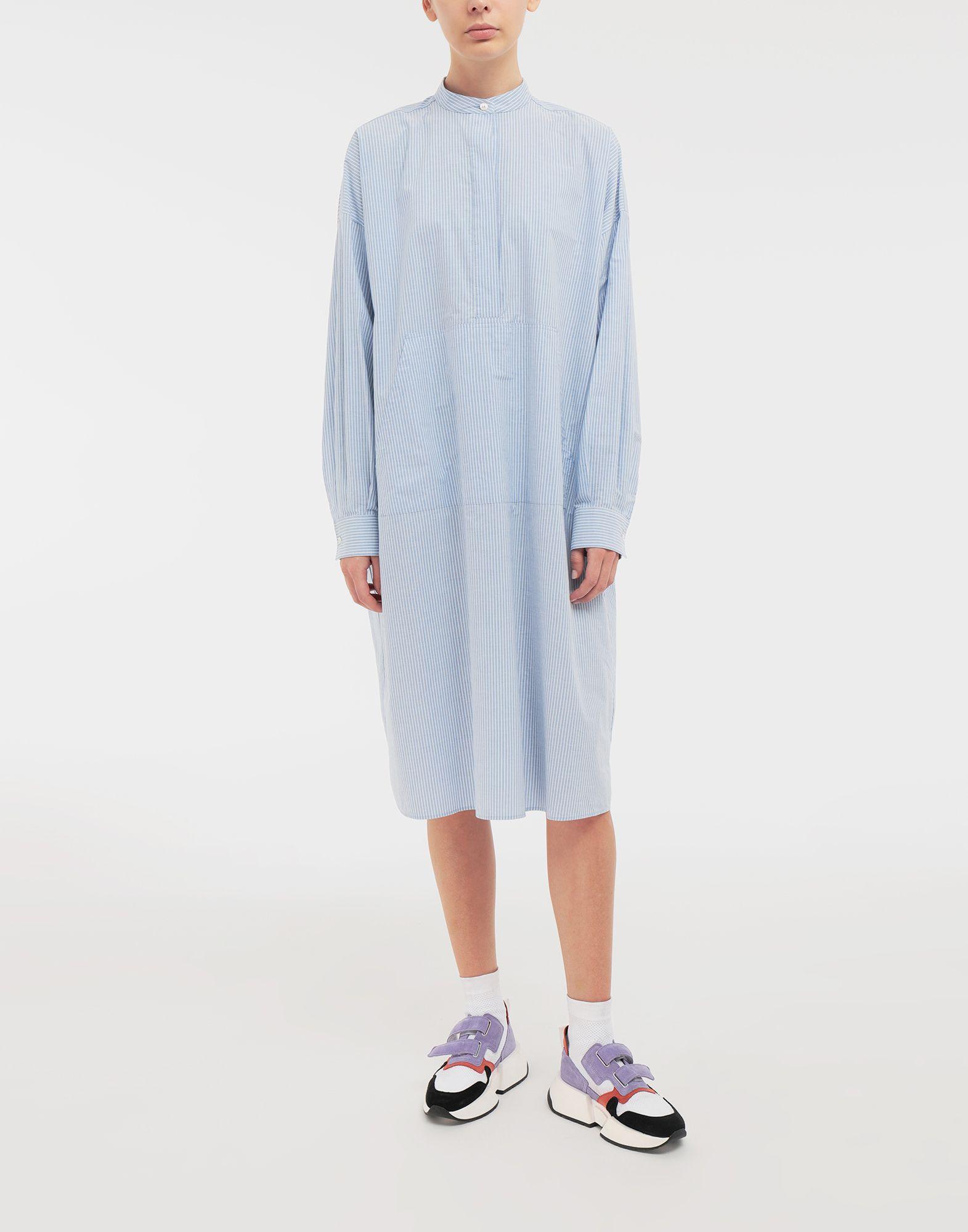 MM6 MAISON MARGIELA Robe chemise en popeline avec imprimé logo Robe mi-longue Femme r