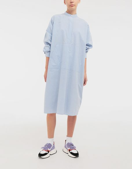 MM6 MAISON MARGIELA Robe chemise en popeline avec imprimé logo Robe mi-longue Femme d