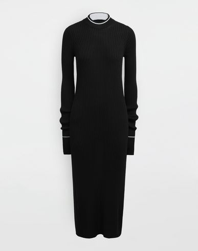 DRESSES NewBasic Ribs knit maxi dress Black