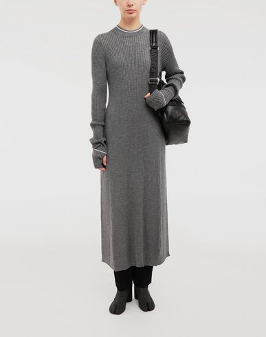 DRESSES NewBasic Ribs knit maxi dress Grey