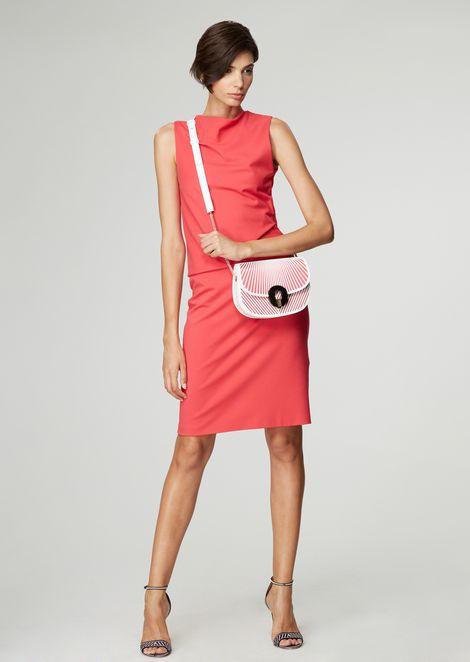 Milano-knit jersey dress with side pleats