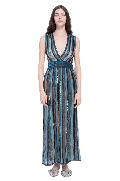 MISSONI Long dress Azure Woman - Back