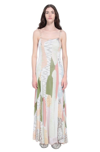 MISSONI Long dress Beige Woman - Back