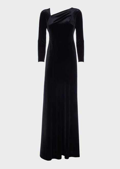 Long dress in combed chenille with asymmetric neckline