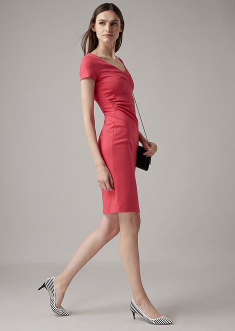 Milano-knit jersey dress with side pleats