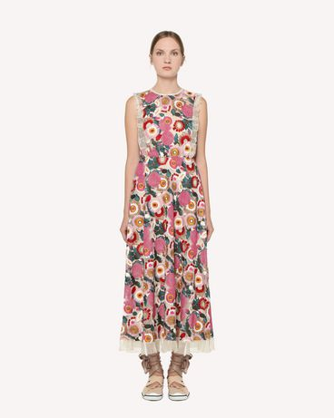 REDValentino Tulle dress with multicolor flower embroidery