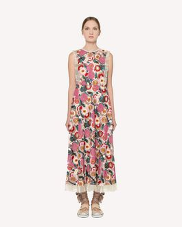 REDValentino Tulle dress with multicolour flower embroidery