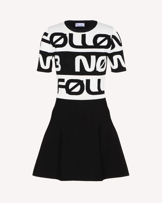 "REDValentino ""Follow Me Now"" jacquard stretch viscose knit dress"
