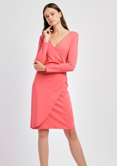 Tulip-cut dress in Milano-stitch fabric with draped hip