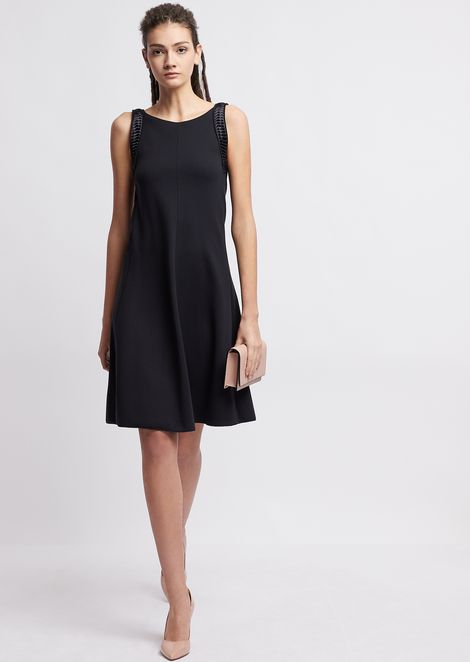 Dress in Milano-stitch fabric with pleated satin shoulder straps