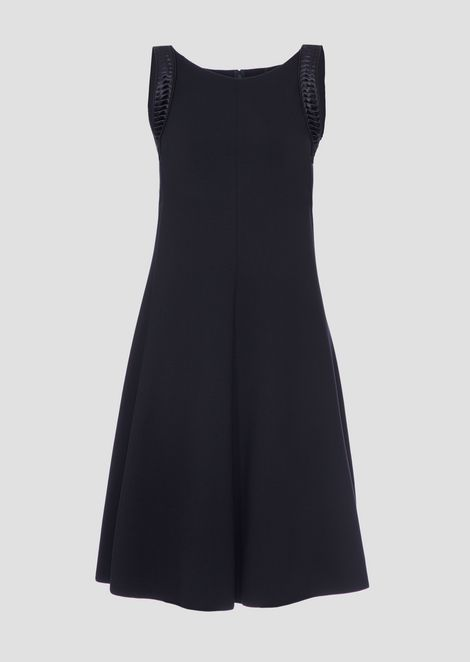 Dress in Milano stitch fabric with pleated satin shoulder straps