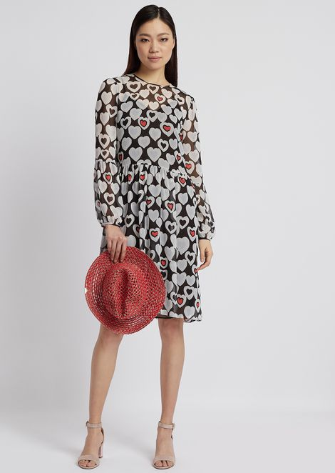 Crepon dress printed with heart motif