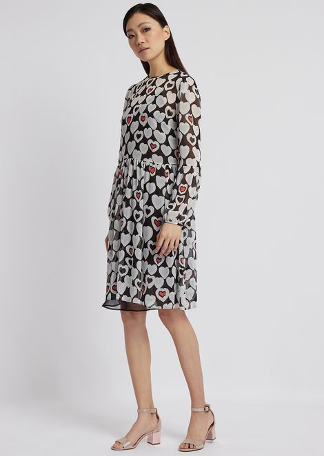 e2b47e9d Crepon dress printed with heart motif