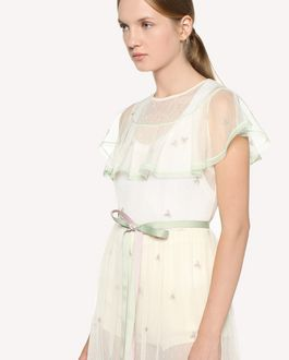 REDValentino Point d'esprit tulle dress with astel flower embroidery