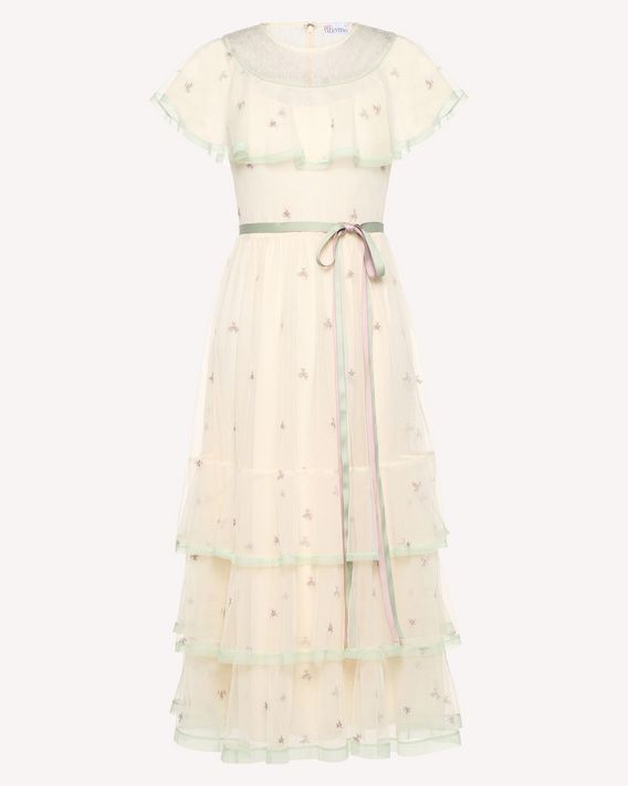 REDValentino Point d'esprit tulle dress with pastel flowers embroidery
