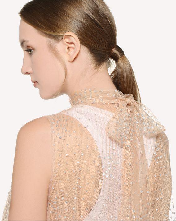 REDValentino Plissee-Kleid aus Tüll mit silbernen Glitzerpunkten