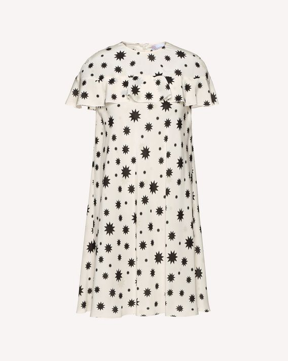 REDValentino Silk dress with Stars and Shadows print and ruffle detail