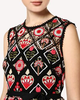 REDValentino Hearts and Flowers Macramé dress