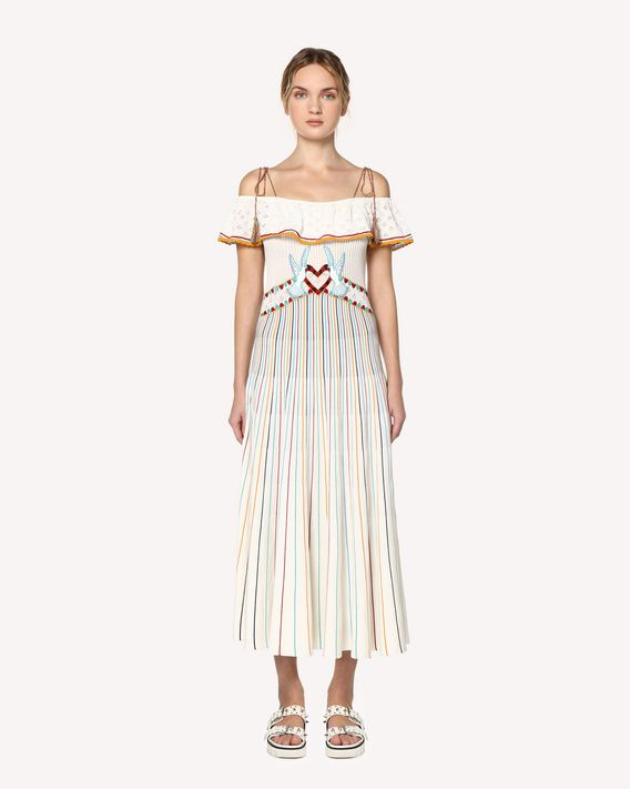 REDValentino Love Celebration embroidered cotton knit dress