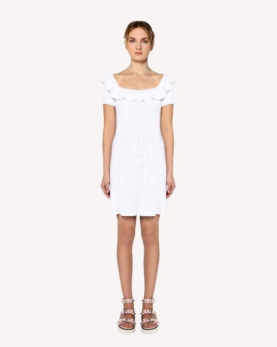 REDValentino Cotton knit dress with floral motif