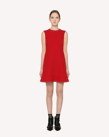 REDValentino Платье из дублированного крепа с отстрочкой
