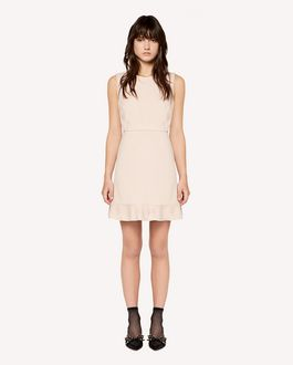 REDValentino Tricotine Tech dress with scalloped dotted line embroidery