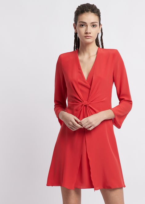 Silk crêpe dress with tie on the front