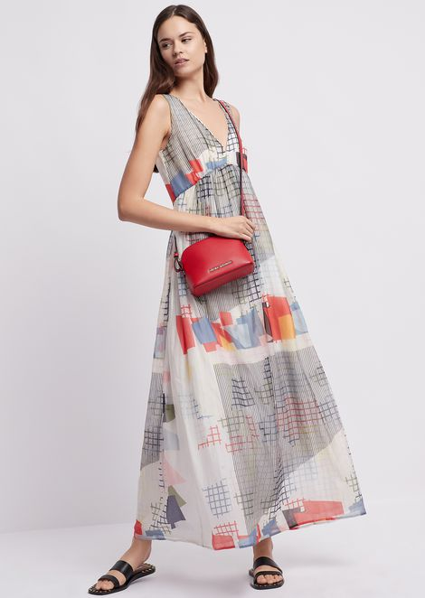 Long dress in silk and cotton with geometric print