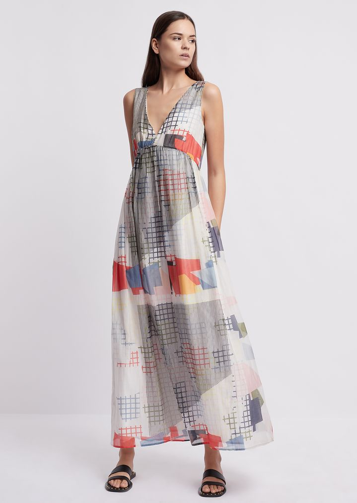 a33074af07074 Long dress in silk and cotton with geometric print | Woman | Emporio Armani