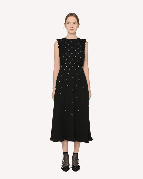 REDValentino Crepe Sablé dress with rhinestones and sequin embroidery