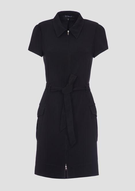 Платье-рубашка из кади сшироким поясом