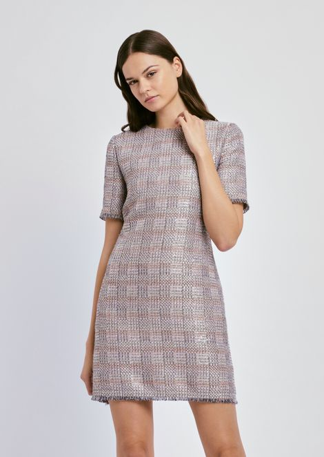 Lurex jacquard dress with check pattern and fringed bottom