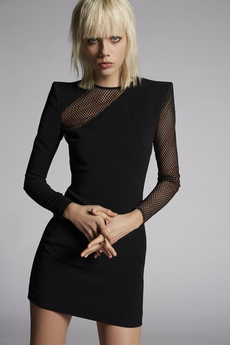 DSQUARED2 Stretch Viscose Crepe Melissa Mesh Dress Dress Woman
