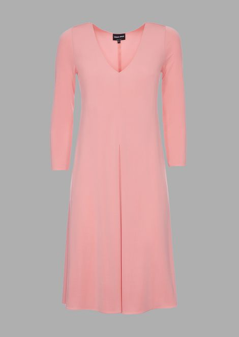Matte stretch interlock dress with a crepe finish