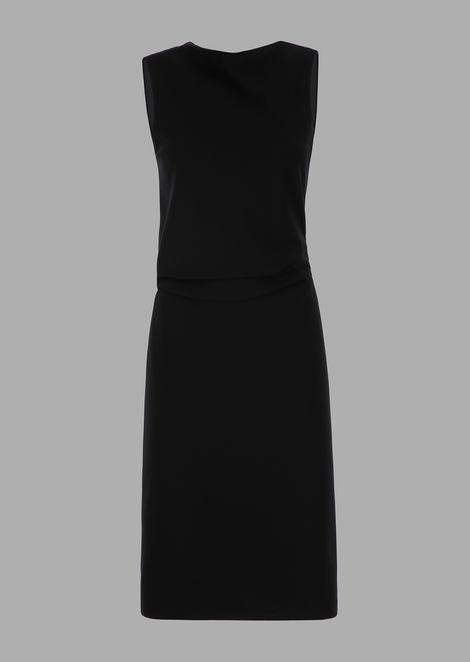Milano stitch jersey dress with draped bodice