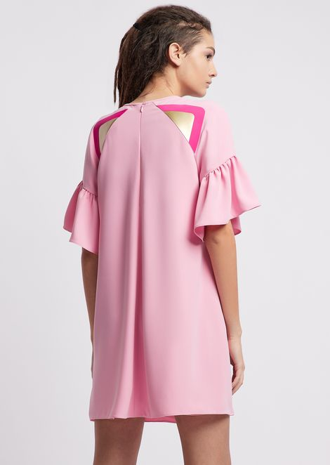 Flowing fabric dress with ruffled sleeves