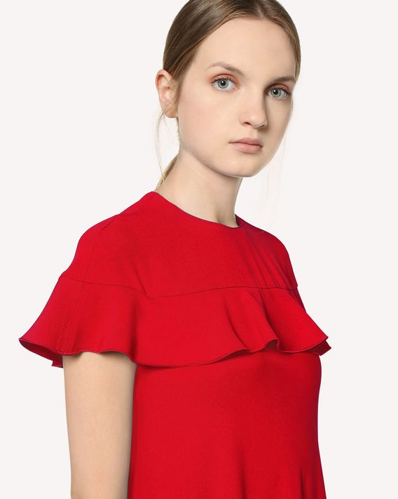 REDValentino Satin-back crepe dress with ruffle detail