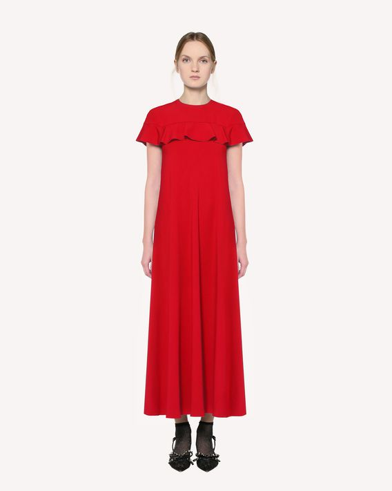 REDValentino Satin-backed crepe dress with ruffle detail