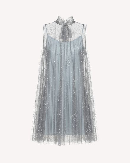 Pleated silver glitter polka-dot tulle dress