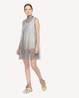 REDValentino Pleated silver glitter polka-dot tulle dress