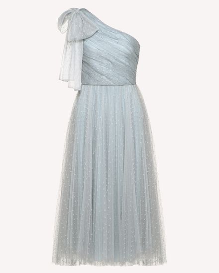 蝴蝶结细节薄纱单肩连衣裙