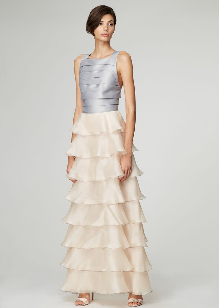 Dress With Pleated Bodice Over A Tiered Skirt In Organza Woman Giorgio Armani