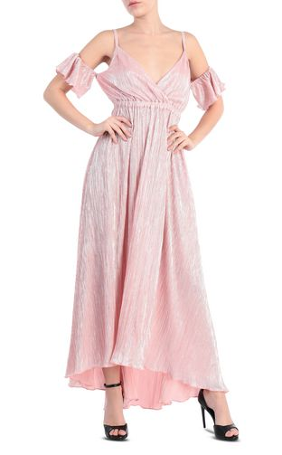 Full-length pleated dress in lurex