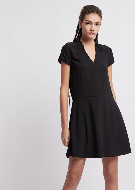 Crepe dress with gathered collar and V neckline