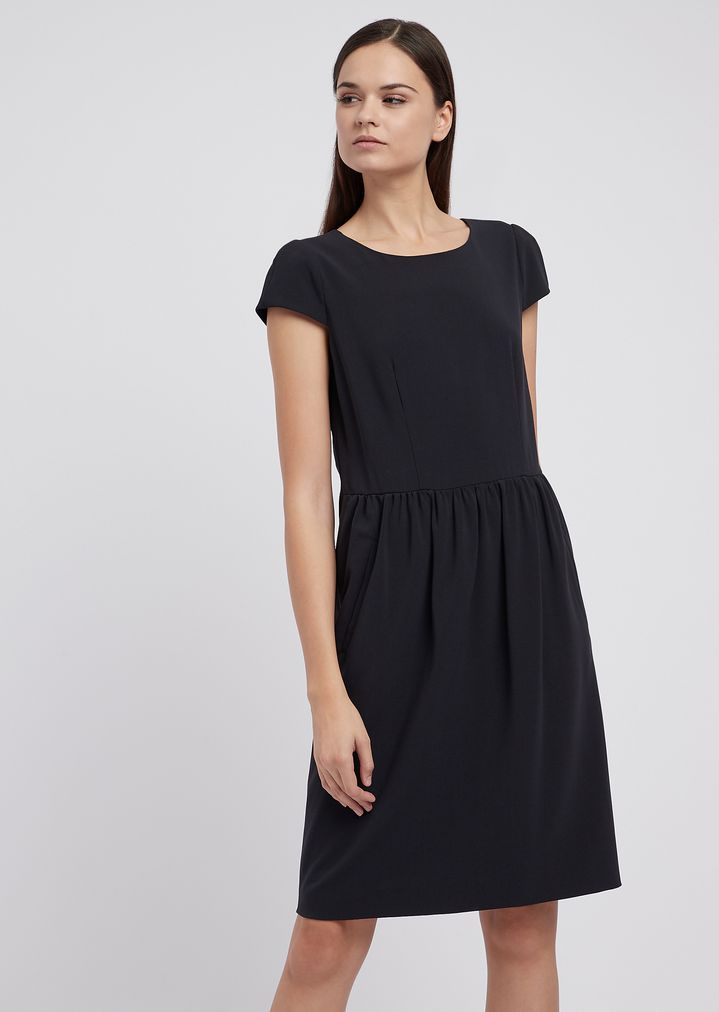 42613c3621 Short-sleeved dress in stretch-wool crepe