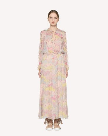 REDValentino Silk Chiffon dress with Cascading Stars print