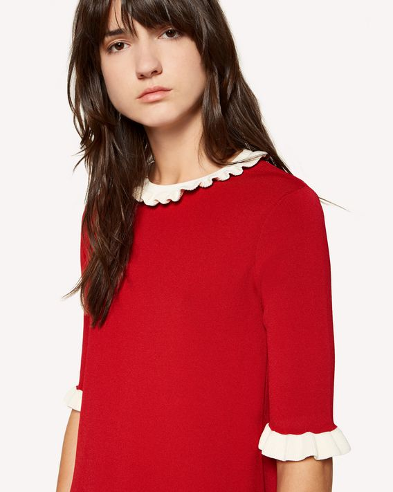 REDValentino Ruffles detail stretch viscose knit dress