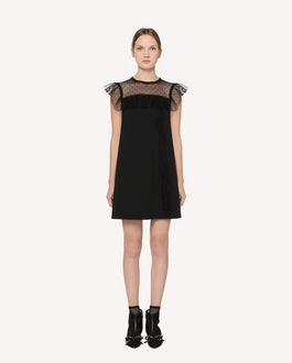 REDValentino  Point d'Esprit Tulle detail jersey dress